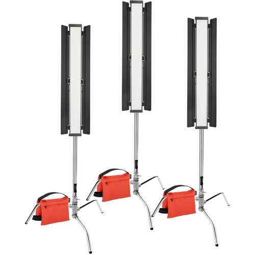 "Genaray Three-Point Lighting 36"" Soft Strip 3-Light Pro Kit with C-Stands"
