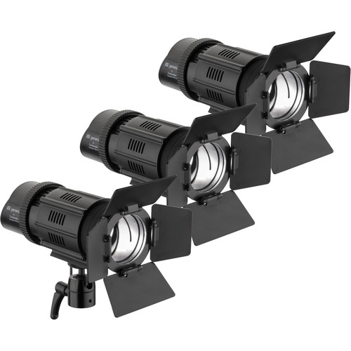 Genaray Contender LED Focusing Spot 3-Light Kit with Battery Module Kit (Daylight)