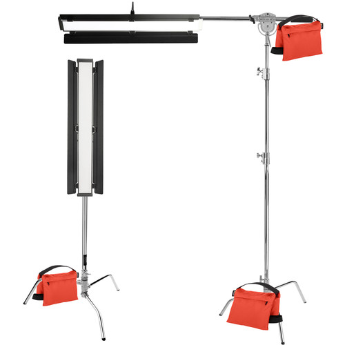 """Genaray Clamshell Lighting 36"""" Soft Strip 2-Light Pro Kit with C-Stands"""