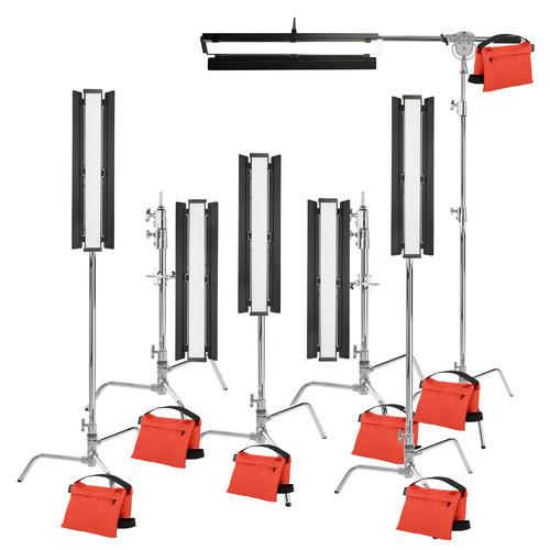 "Genaray Hex Lighting 36"" Soft Strip 6-Light Pro Kit with C-Stands"