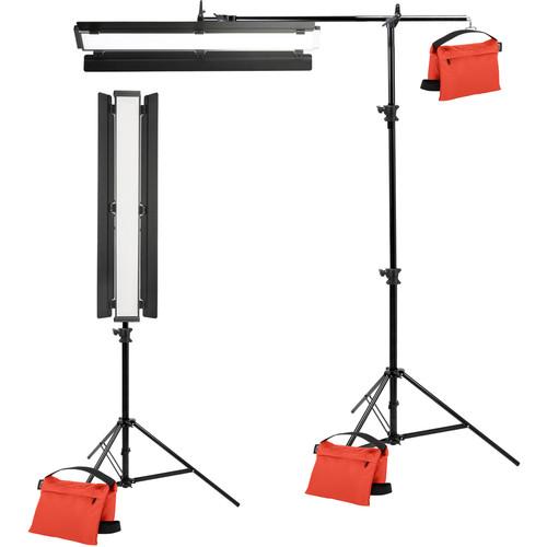 "Genaray Clamshell Lighting 36"" Soft Strip 2-Light Standard Kit with Light Stands"