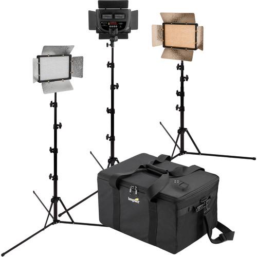 Genaray Escort Bi-Color Flood LED 3-Light Kit with Stands