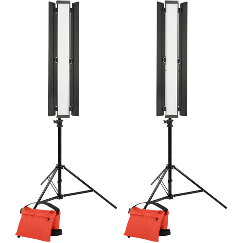 "Genaray Key and Fill Lighting 36"" Soft Strip 2-Light Standard Kit with Light Stands"