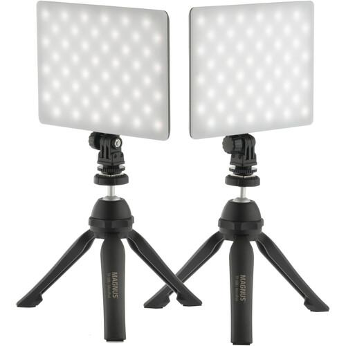 Genaray 2 x SL-57 Soft LED Lights & 2 x PIXI Plus Mini Tripods Kit