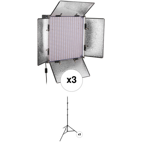 Genaray SpectroLED Studio 1000 Bi-Color LED Three Light Kit