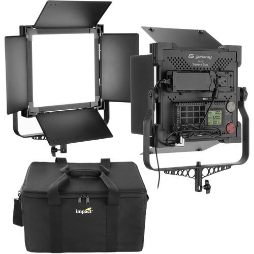 Genaray Square Sun 1x1' Bi-Color Soft LED 2-Light Kit