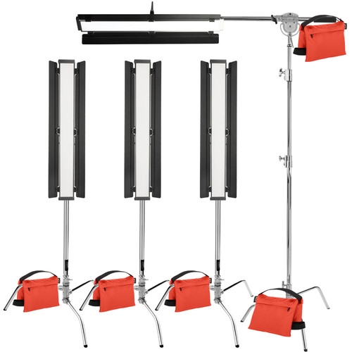 "Genaray Box Lighting 36"" Soft Strip 4-Light Kit with C-Stands"