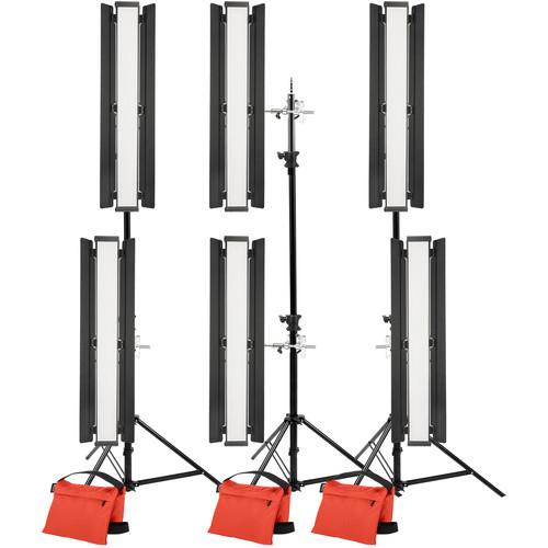 "Genaray Stacked Lighting 36"" Soft Strip 6-Light Standard Kit with Light Stands"