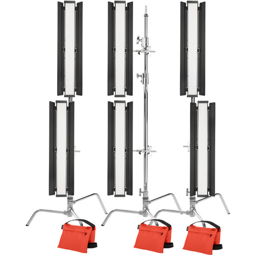 "Genaray Stacked Lighting 36"" Soft Strip 6-Light Pro Kit with C-Stands"
