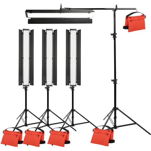 "Genaray Box Lighting 36"" Soft Strip 4-Light Standard Kit with Light Stands"