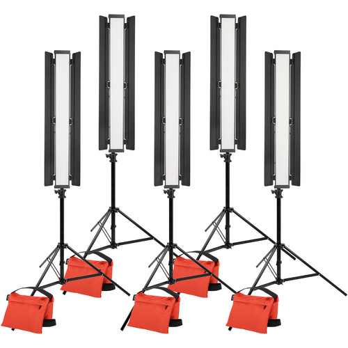 """Genaray Triangle with Edge Lighting 36"""" Soft Strip 5-Light Standard Kit with Light Stands"""