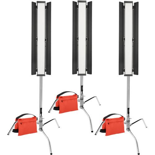 "Genaray Triangle Lighting 36"" Soft Strip 3-Light Pro Kit with C-Stands"