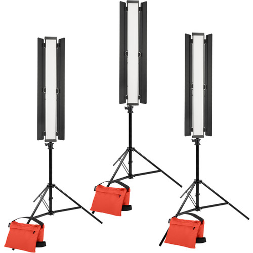 "Genaray Three-Point Lighting 36"" Soft Strip 3-Light Standard Kit with Light Stands"