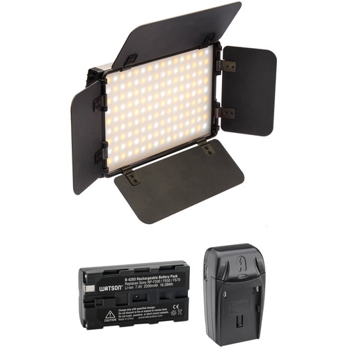 Genaray Ultra-Thin Bicolor 144 SMD LED On-Camera Light with Battery & Charger Kit