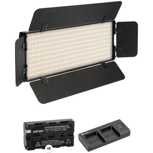 Genaray Ultra-Thin Bicolor 288 SMD LED On-Camera Light Kit with Two Batteries and Dual Charger