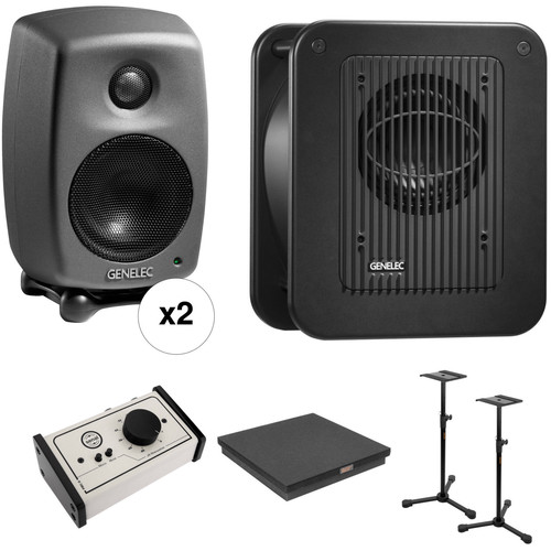 Genelec 8010 Deluxe Studio Monitor and Subwoofer Kit with Stands, Sub Platform, and Monitor Controller