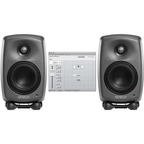 Genelec Two 8320A Studio Monitors & GLM V2.0 User Kit with 9310AM Volume Control Stereo SAM Kit