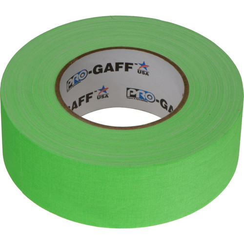 "ProTapes Pro Gaff Cloth Tape (2"" x 25 Yards, Fluorescent Green)"