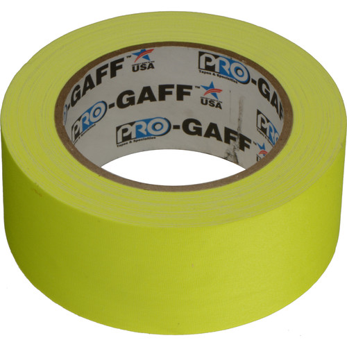 "ProTapes Pro Gaff Cloth Tape (2"" x 25 Yards, Fluorescent Yellow)"