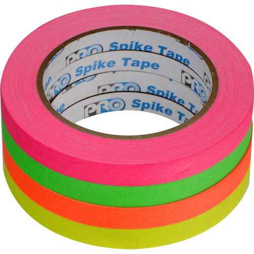 "ProTapes Pro Spike Stack Fluorescent Cloth Tape Set (Four 1/2"" x 60' Rolls)"