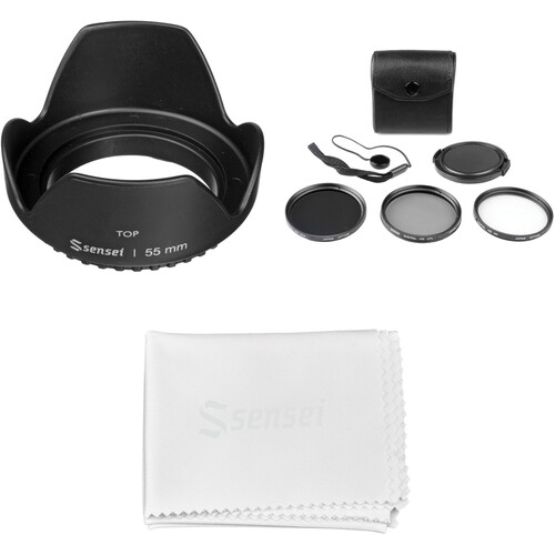 General Brand 55mm Filter Kit with Lens Hood