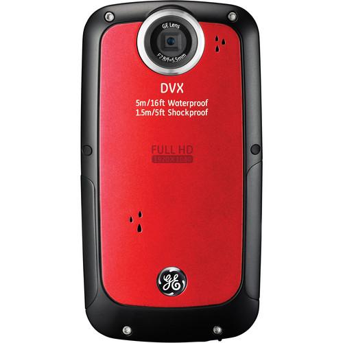 General Electric DVX Full HD 1080p Waterproof Digital Video Camera (Velvet Red)