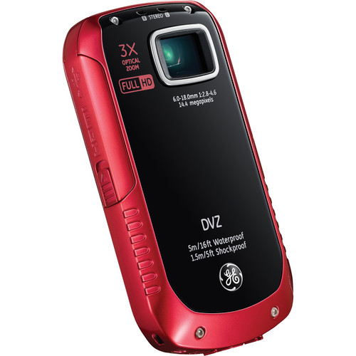 General Electric Active Series DVZ Full-HD 1080p Pocket Digital Video Camera (Red)