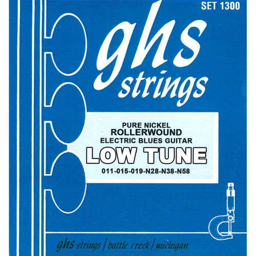 GHS 1300 Low Tuned Nickel Rockers Rollerwound Electric Guitar Strings (6-String Set, 11 - 58)