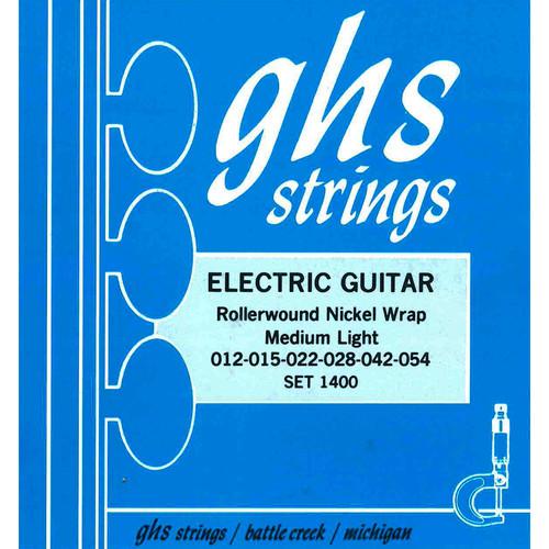 GHS 1400 Medium Light Nickel Rockers Wound 3rd Rollerwound Electric Guitar Strings (6-String Set, 12 - 54)