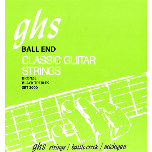 GHS 2000 Ball End Regular Classics with Phosphor Bronze Basses Classical Guitar Strings (6-String Set, High Tension, 28 - 43)