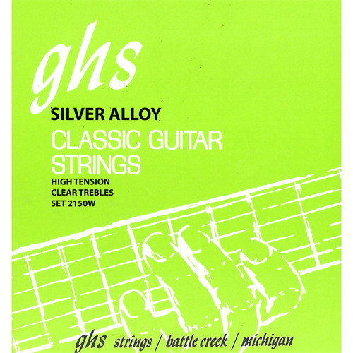 GHS 2150W Tie End Regular Classics with Silver Copper Basses Classical Guitar Strings (6-String Set, High Tension, 28 - 43)