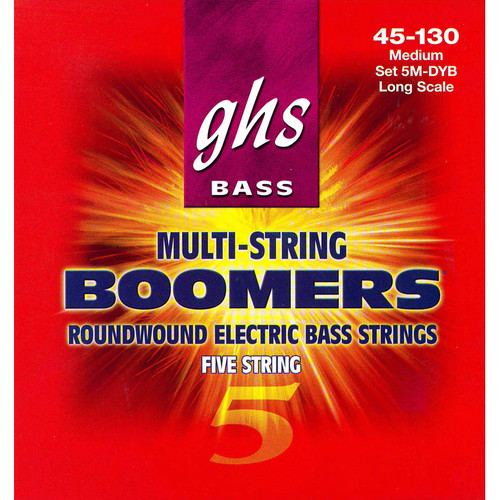 GHS 5M-DYB Medium Bass Boomers Roundwound Electric Bass Strings (5-String Set, Long Scale, 45 - 130)