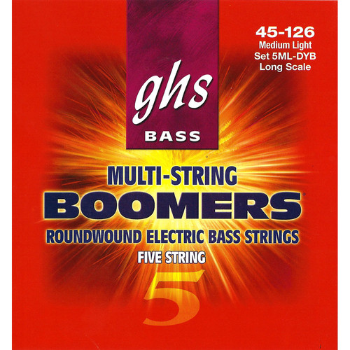 GHS 5ML-DYB Medium Light Bass Boomers Roundwound Electric Bass Strings (5-String Set, Long Scale, 45 - 126)
