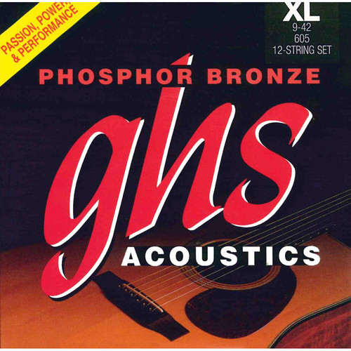 GHS 605 Extra Light Phosphor Bronze Acoustic Guitar Strings (12-String Set, 9 - 42)
