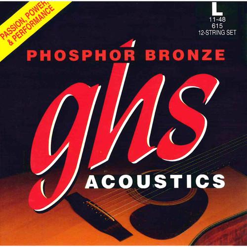 GHS 615 Light Phosphor Bronze Acoustic Guitar Strings (12-String Set, 11 - 48)