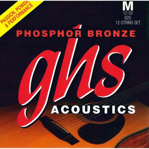 GHS 625 Medium Phosphor Bronze Acoustic Guitar Strings (12-String Set, 12 - 52)