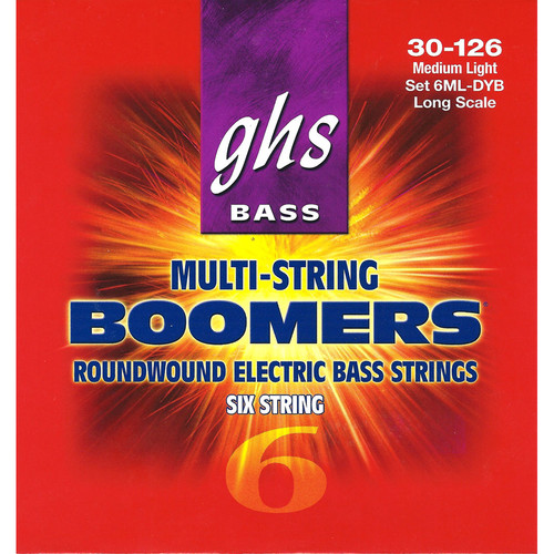 GHS 6ML-DYB Medium Light Bass Boomers Roundwound Electric Bass Strings (6-String Set, Long Scale, 30 - 126)