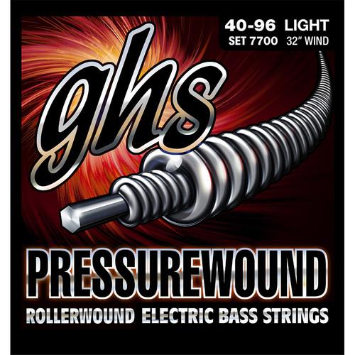 GHS 7700 Light Pressurewound Rollerwound Electric Bass Strings (4-String Set, Short Scale, 40 - 96)