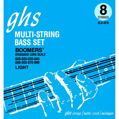 GHS 8LS-DYB Regular Bass Boomers Roundwound Electric Bass Strings (8-String Set, Extra Long Scale, 20 - 90)