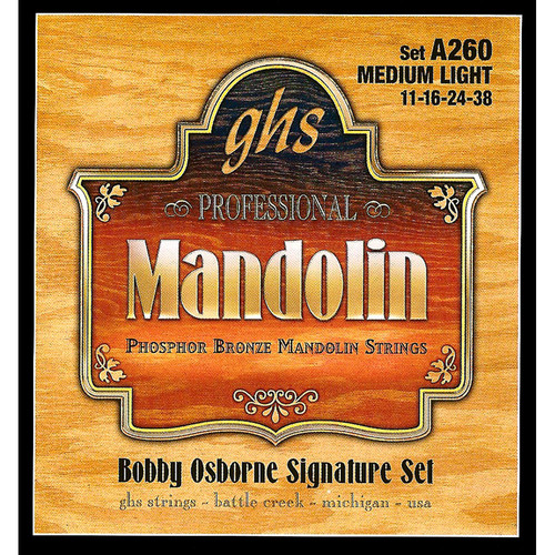 GHS A260 Bobby Osborne Signature Phosphor Bronze Mandolin Strings (8-String Set, Loop End, 11 - 38)
