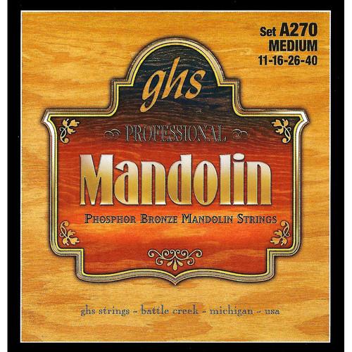 GHS A270 Medium Phosphor Bronze Mandolin Strings (8-String Set, Loop End, 11 - 40)