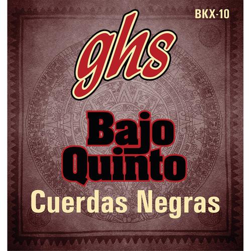 GHS BKX-10 Cuerdas Negras Black-Coated Stainless Steel Bajo Quinto Strings (10-String Set, Loop End, 24 - 78)