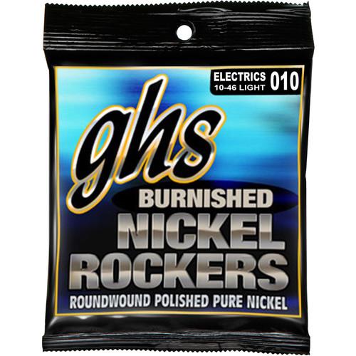 GHS BNR-L Burnished Nickel Rockers Light Roundwound Electric Guitar Strings (6-String Set, 10 - 46)