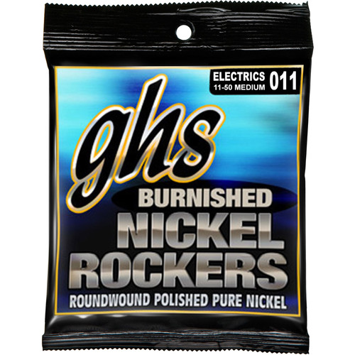 GHS BNR-M Burnished Nickel Rockers Medium Roundwound Electric Guitar Strings (6-String Set, 11 - 50)
