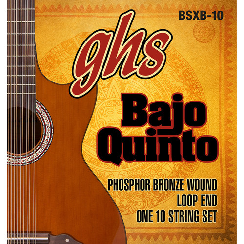 GHS BSXB-10 Phosphor Bronze Bajo Quinto Strings (10-String Set, Loop End, 24 - 78)