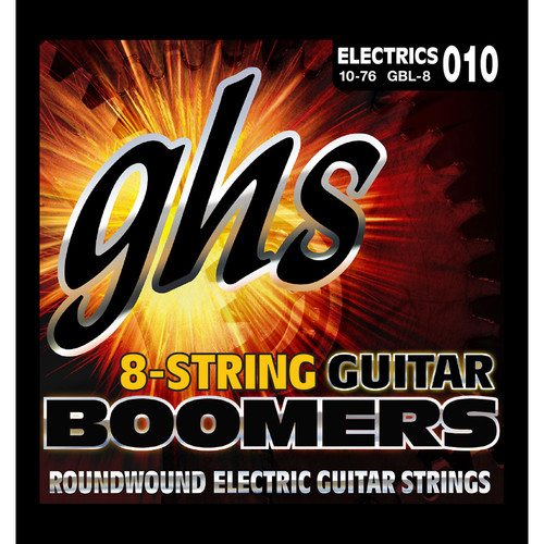 GHS GBL-8 Boomers Light Roundwound Electric Guitar Strings (8-String Set, 10 - 76)
