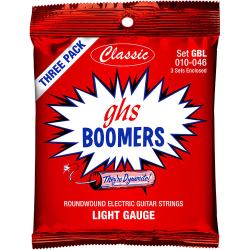GHS GBLC3 PACK Light Boomers Multi-Pack Roundwound Electric Guitar Strings (6-String Set, 10 - 46, 3-Pack)