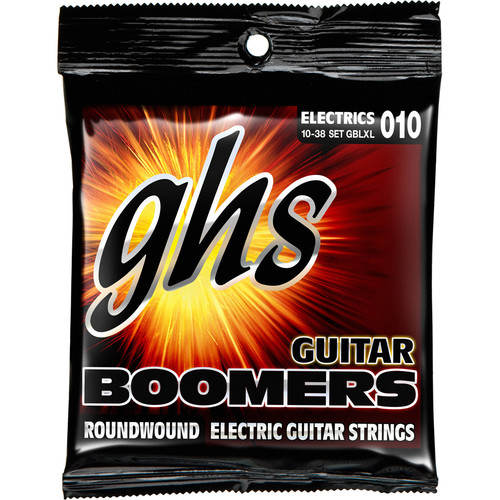 GHS GBLXL Boomers Roundwound Light/Extra Light Electric Guitar Strings (6-String Set, 10 - 38)