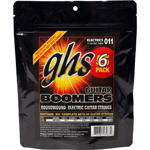 GHS GBM-5 Medium Boomers Multi-Pack Roundwound Electric Guitar Strings (6-String Set, 11 - 50, 6-Pack)