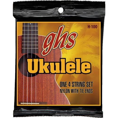 GHS H-100 Baritone Black Nylon/Silverwound Ukulele Strings (4-String Set, Tie End, 28 - 36)